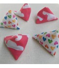 Pink Clouds and Hearts Small Five Stones