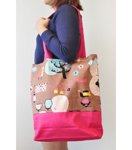 Beach Tote Bag (Pink Japanese print)