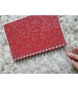 Patterned Maroon Paper Bound Notebook